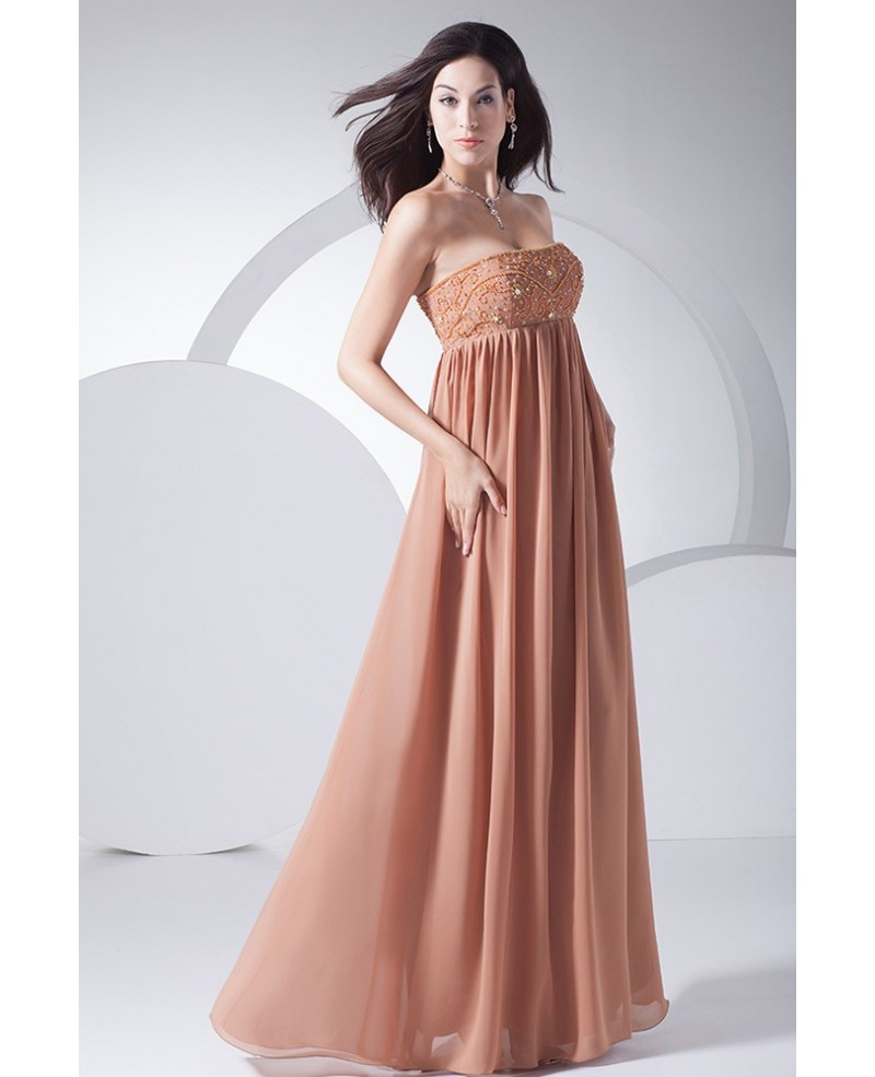 Strapless Beaded Empire Waist Color Chiffon Maternity Wedding Dress