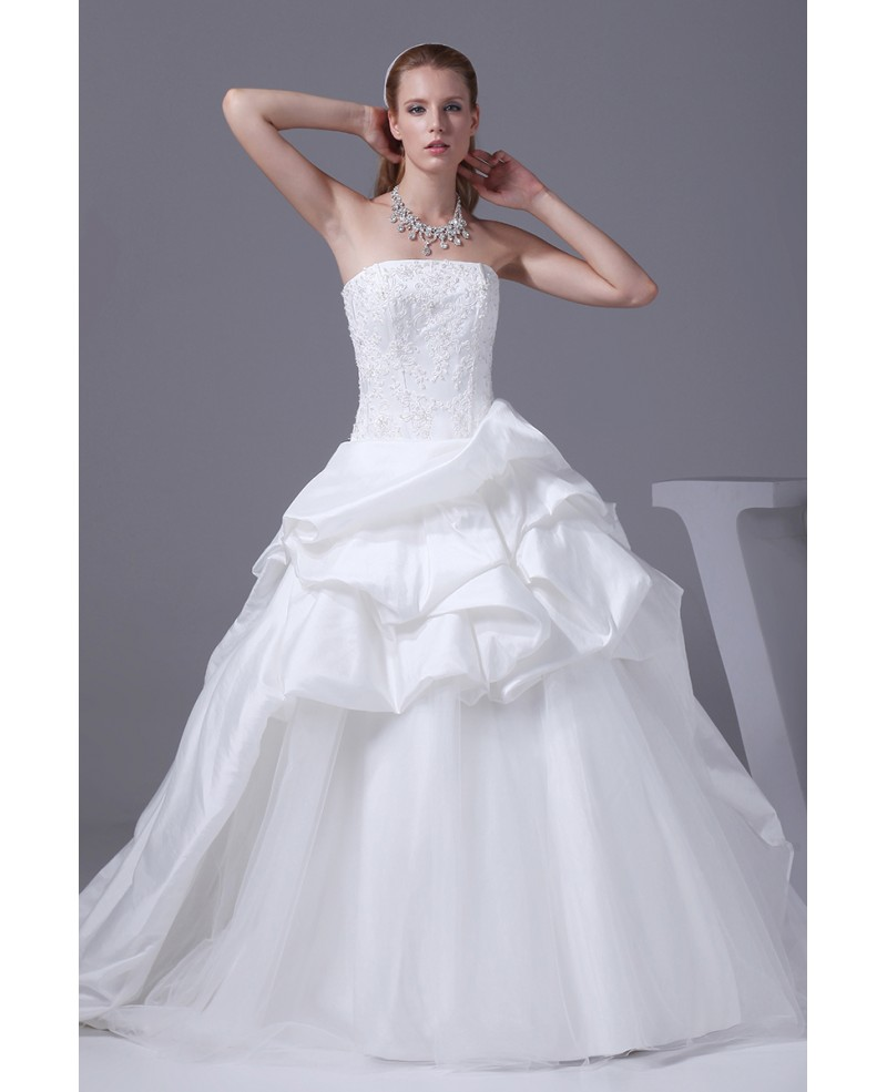 Classic White Taffeta and Tulle Strapless Wedding Dress