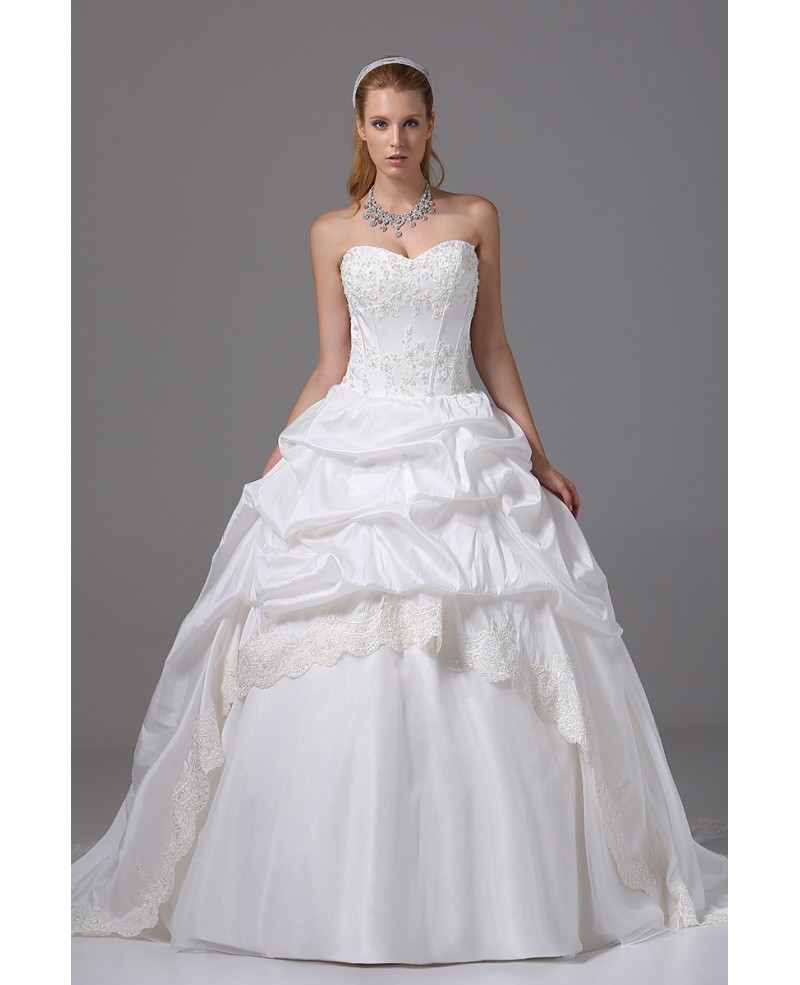 Ballgown Lace Sweetheart Taffeta Wedding Dress