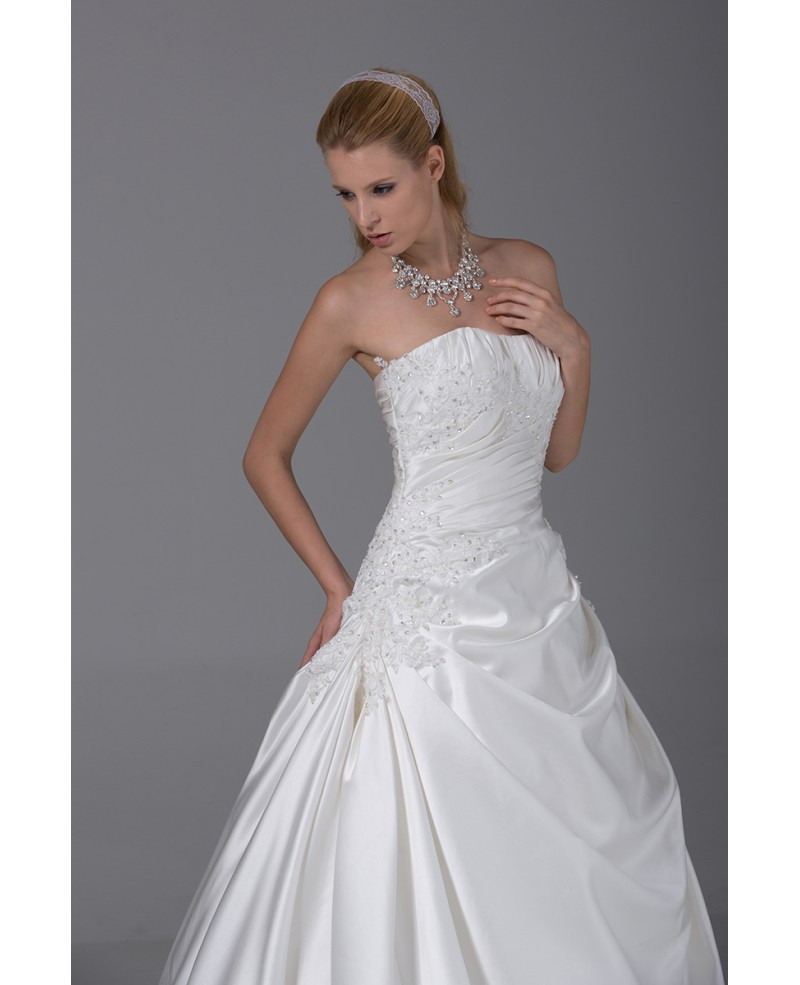 Beaded Lace Pleated White Ballgown Satin Wedding Dress