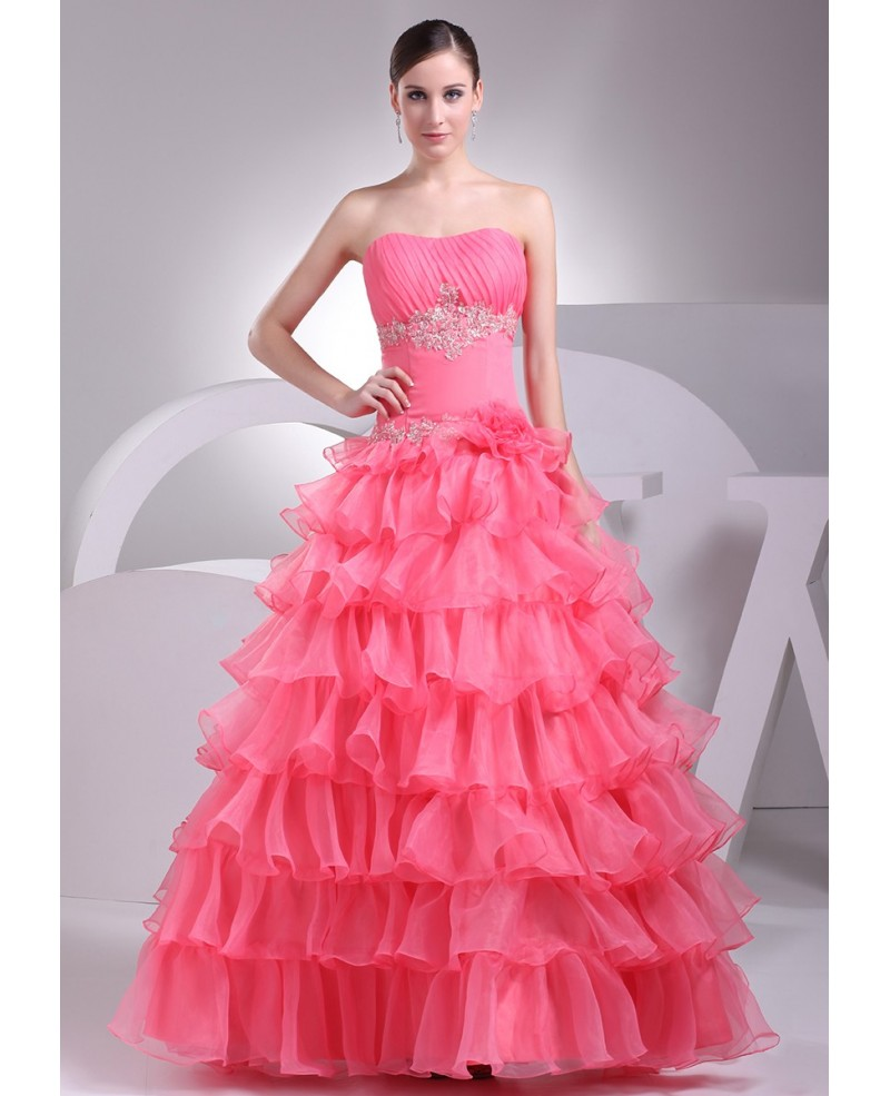 Watermelon Colored Cascading Ruffles Wedding Dress with Bling