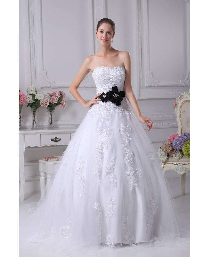 Sequined Lace Tulle Ballgown Wedding Dress with Sash