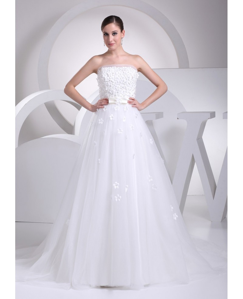 Pretty Flowers Empire Waist Long Tulle Maternity Wedding Dress