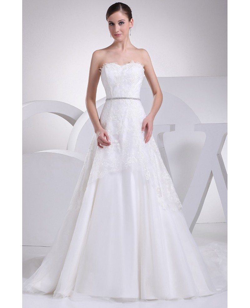 Aline Lace Train Length Strapless Wedding Dress with Crystals