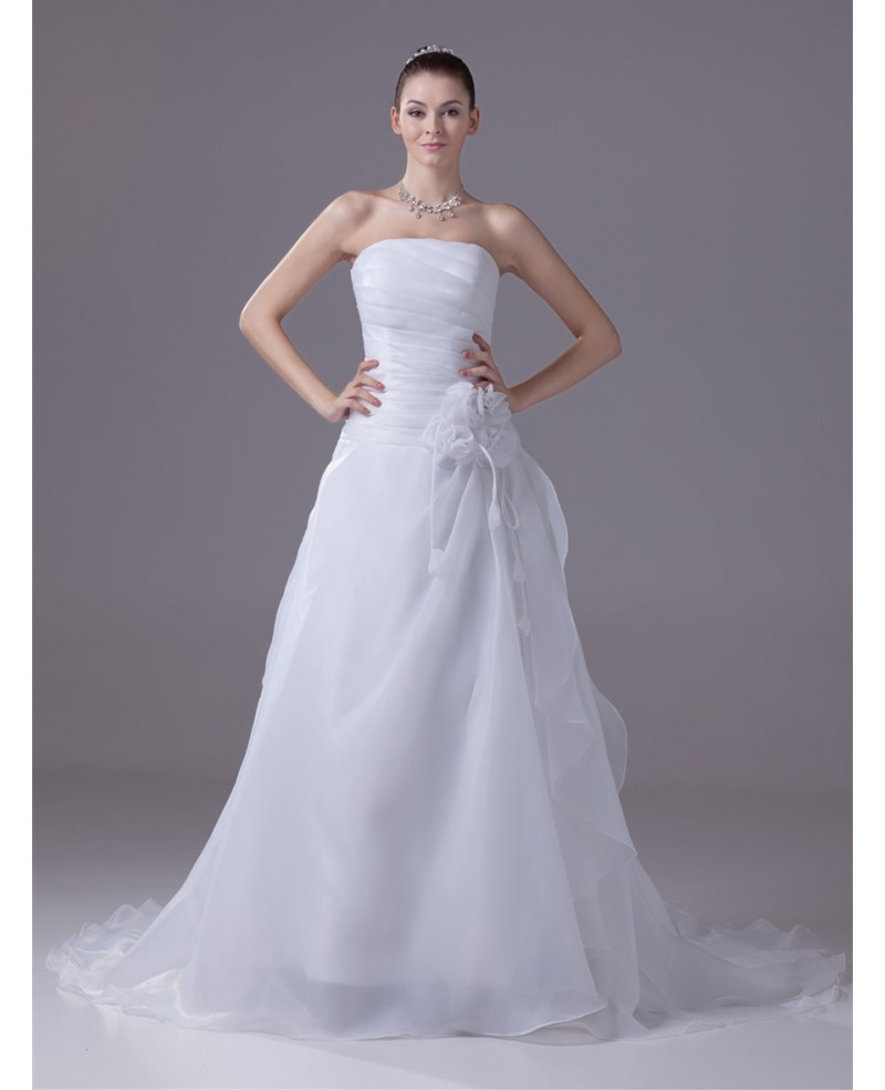 Strapless Pleated Organza Aline Wedding Dress with Flower