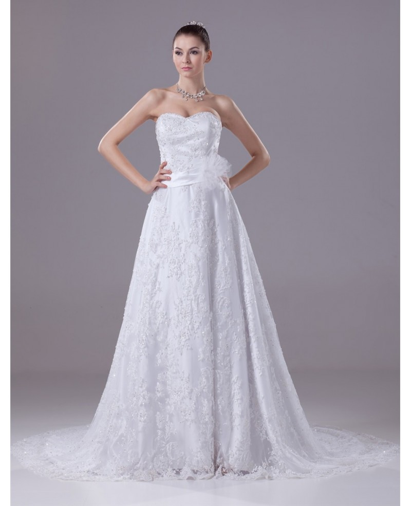 Sequined Full Lace Aline Wedding Dress with Sash