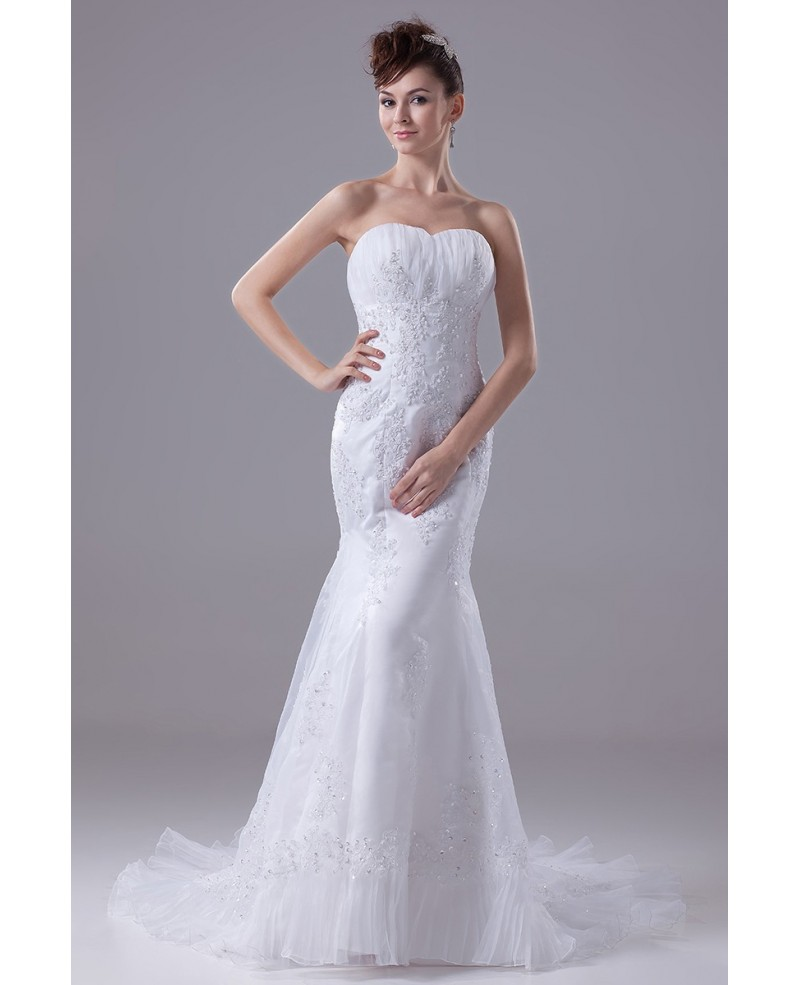 Beaded Lace Sweetheart Fitted Mermaid Organza Wedding Dress
