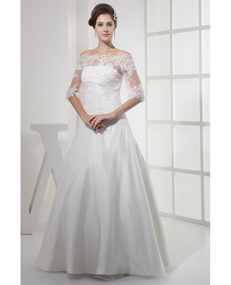 Lace Half Sleeves Long Tulle Wedding Dress