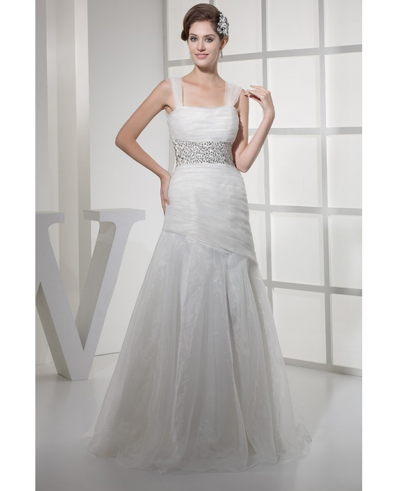 Pretty Organza Long Mermaid Sequined Wedding Dress with Bling