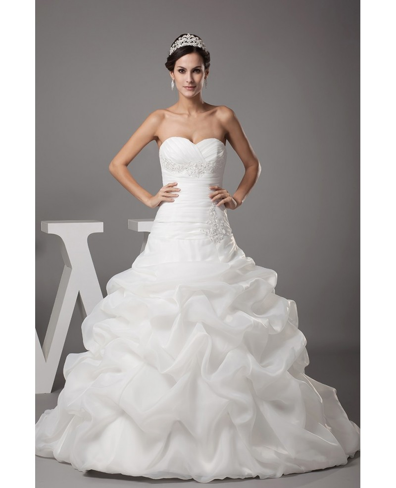 Sweetheart Pleated Cascading Ruffles Wedding Dress with Train