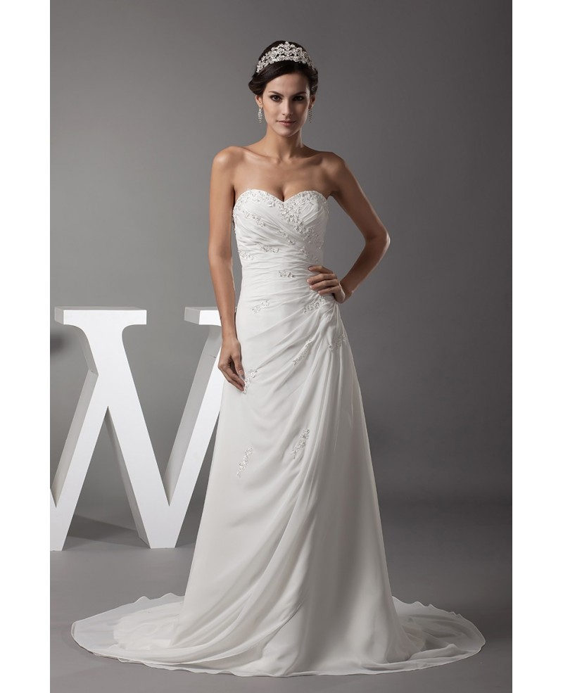 Sequined Long Chiffon Pleated Sweetheart Beach Wedding Dress