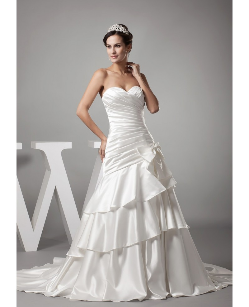 Sweetheart Pleated Satin Layered Mermaid Wedding Dress with Bow