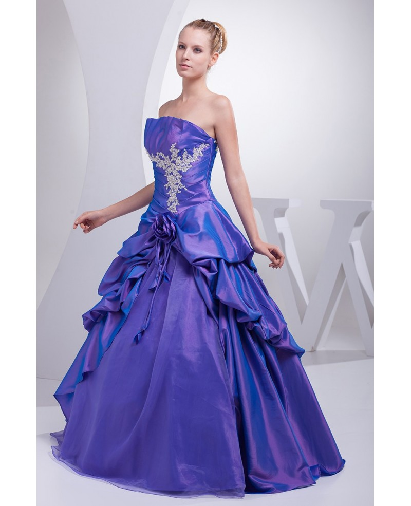 Purple Taffeta Lace Ruffles Ballgown Colored Wedding Dress