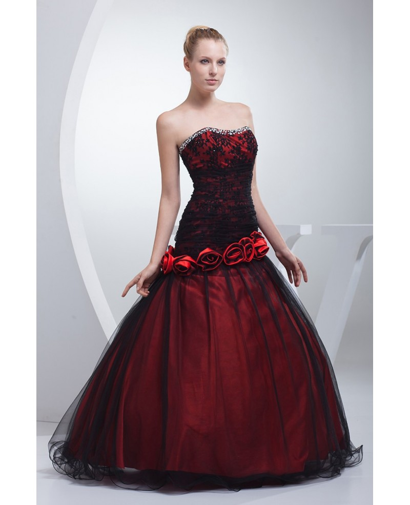 Gothic Black and Red Floral Ballgown Tulle Color Wedding Dress
