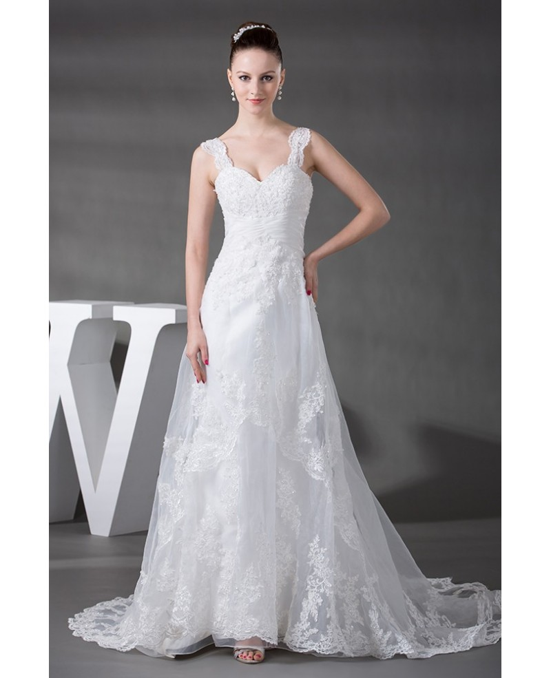 Beaded Strap Lace Tulle Aline Beach Wedding Dress