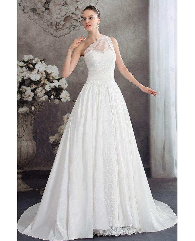 One Strap Simple Aline Lace Wedding Dress