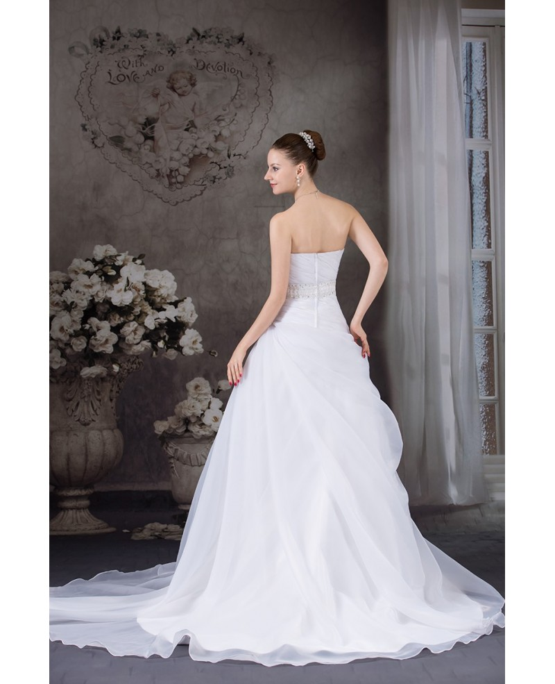 Strapless Pleated Organza Wedding Dress with Ruffles