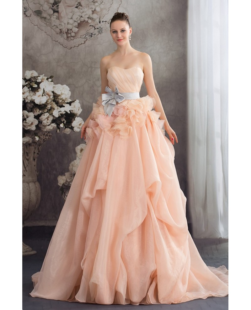Cascading Ruffles Colored Two Tone Organza Wedding Dress with Sash