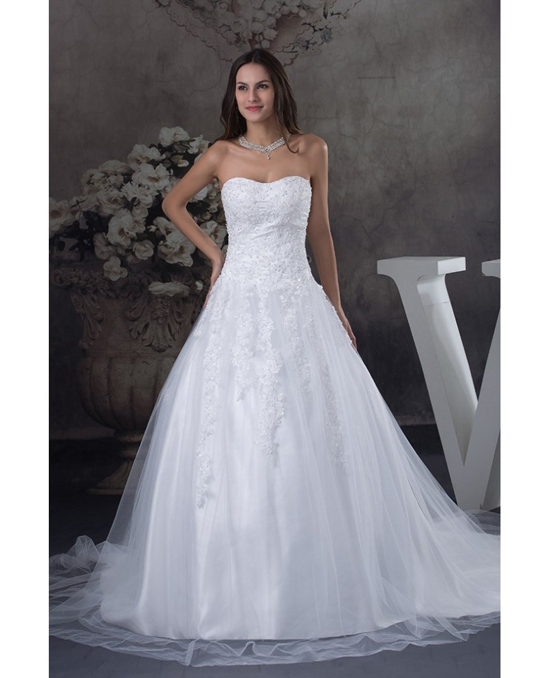 Strapless Long Train Tulle Lace Wedding Dress Sweetheart