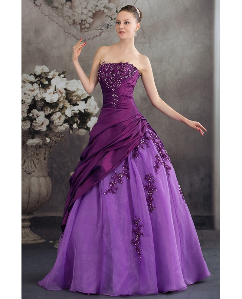 Purple Two-tone Strapless Pleated Wedding Dress with Beading