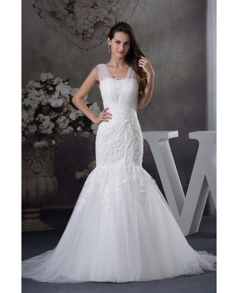 Gorgeous Tulle Straps Fitted Mermaid Lace Wedding Dress
