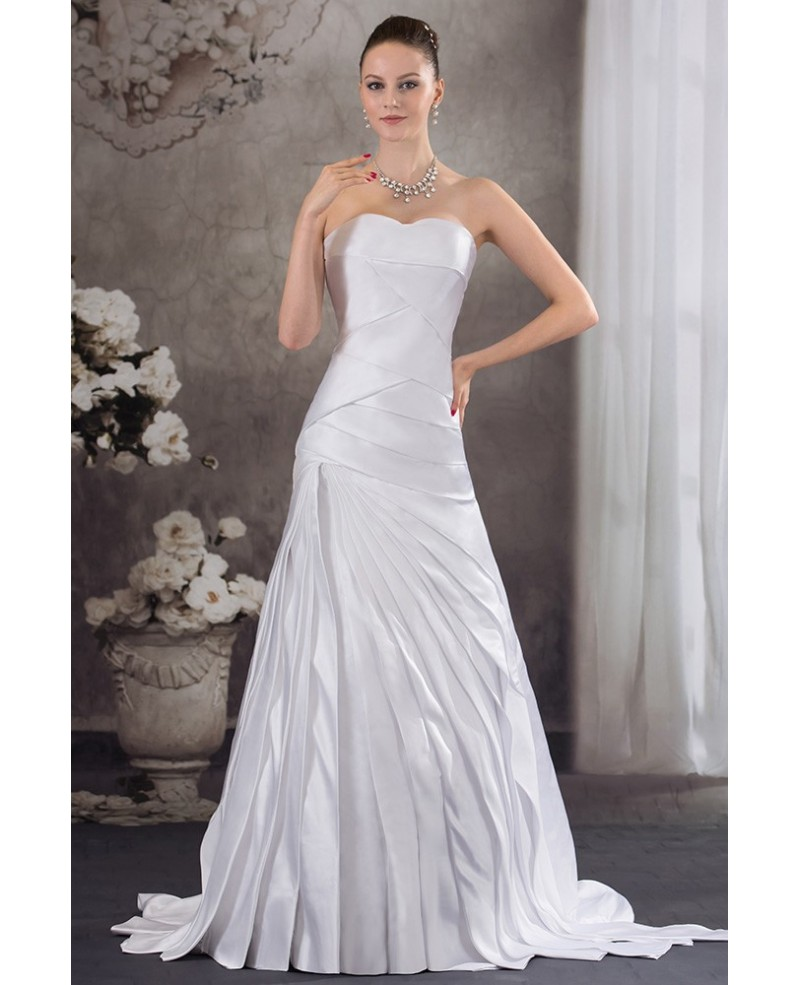 Pleated Satin Sweetheart Mermaid Wedding Dress with Corset Back