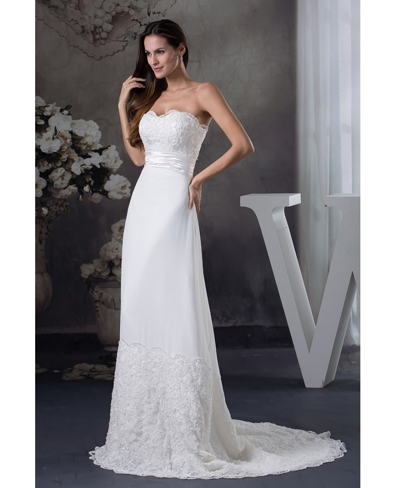 Special Lace Trim Long Train Chiffon Beach Wedding Dress