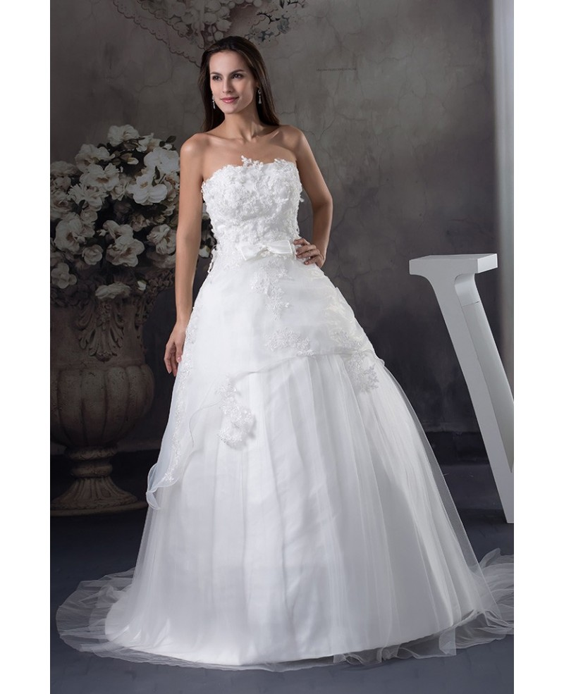 White Lace Tulle Strapless Ballgown Wedding Dress Custom