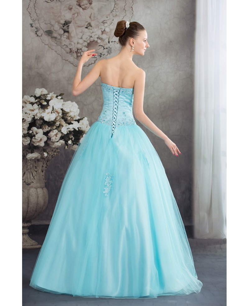 Beautiful Blue Lace Tulle Ballgown Wedding Dress Corset Back