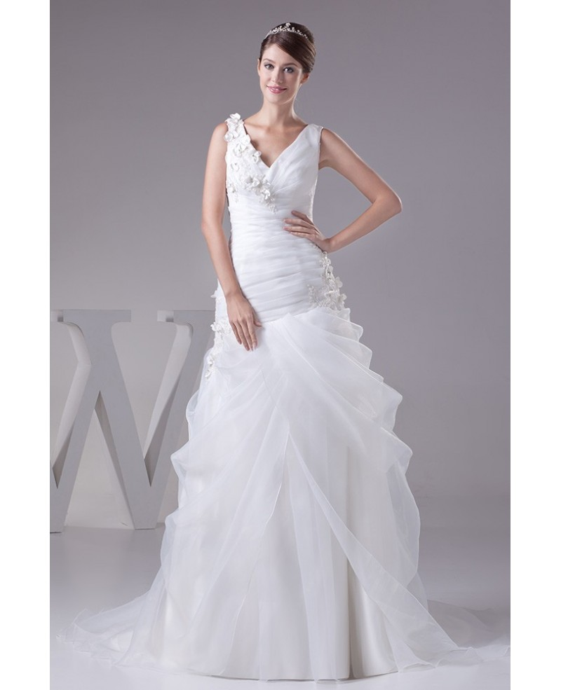 V-neck Organza Body Fitted Wedding Dress with Flowers