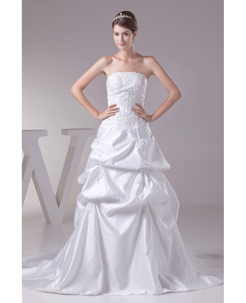 Strapless Lace Taffeta Long Train Wedding Dress
