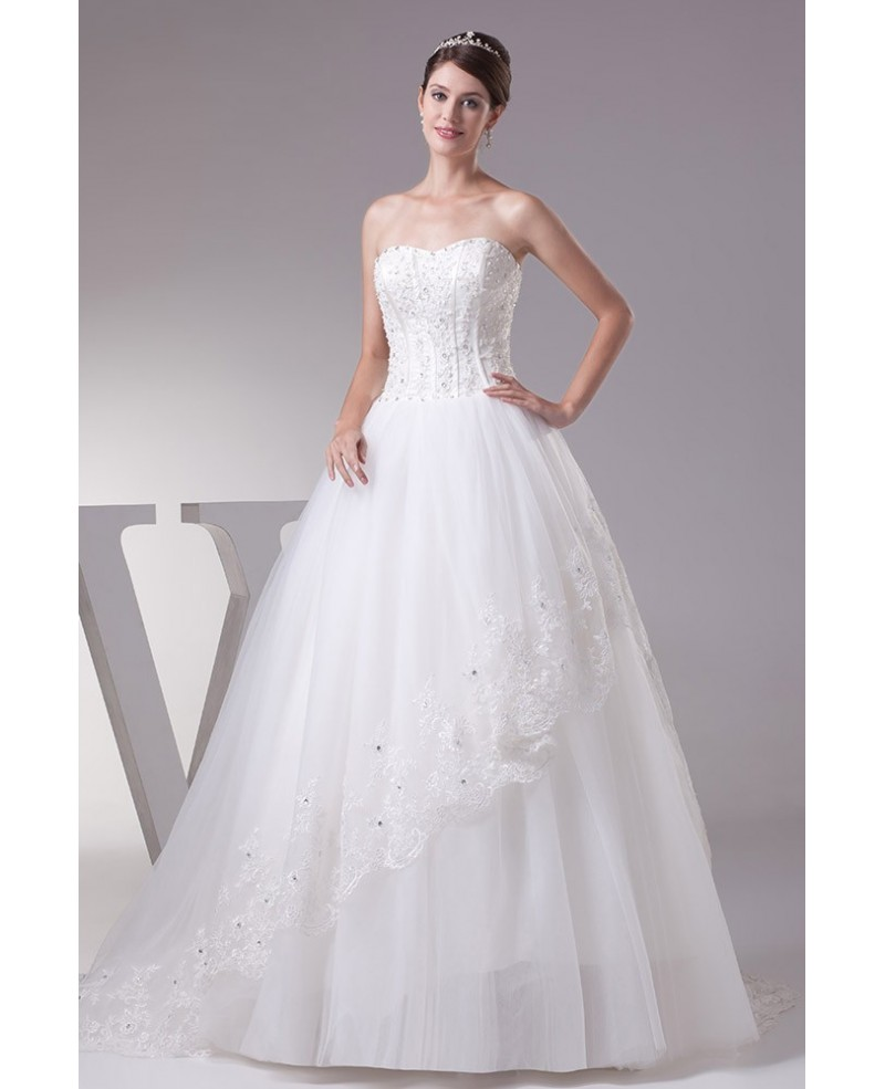 Sweetheart Lace Ballgown Tulle Wedding Dress with Corset Back