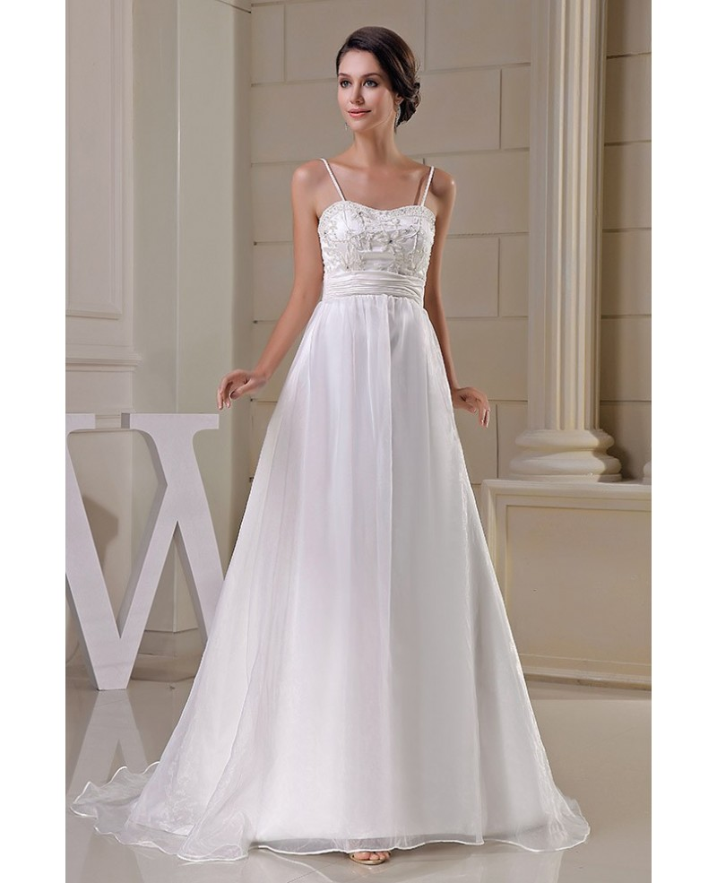 Organza Empire Waist Aline Maternity Wedding Dress Spaghetti Straps