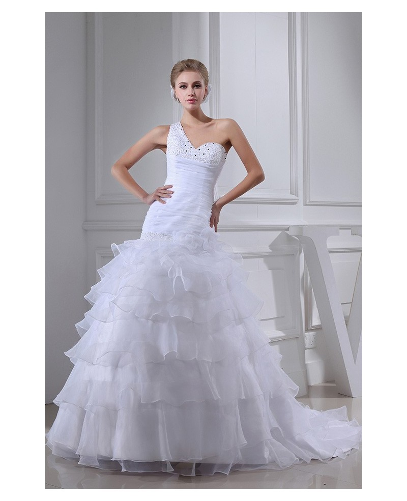 White Fitted Organza One Shoulder Ruffles Wedding Dress