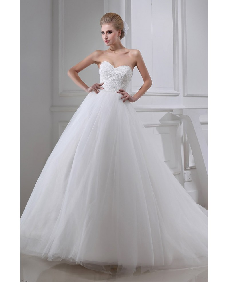 Beautiful Lace Empired Long Train Tulle Wedding Dress Sweetheart