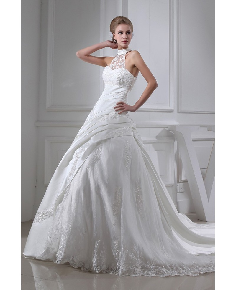 Lace Long Halter Pleated Ballgown Wedding Dress