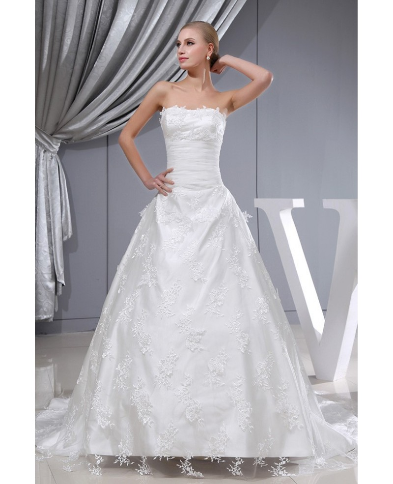 Strapless Lace Tulle Long Train Wedding Dress