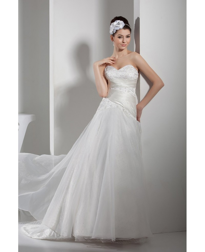 Satin with Organza Sequins Long Wedding Dress Sweetheart