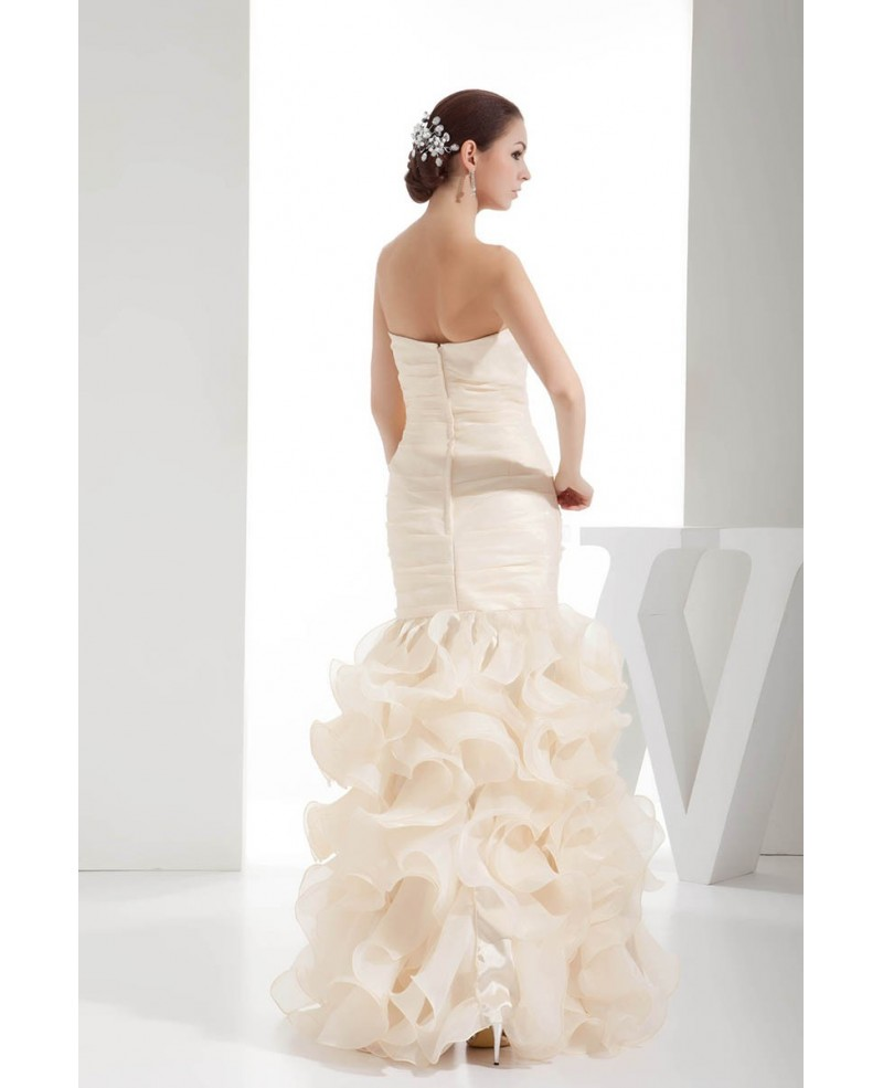 Champagne Ruffled Organza Fitted Formal Dress Custom