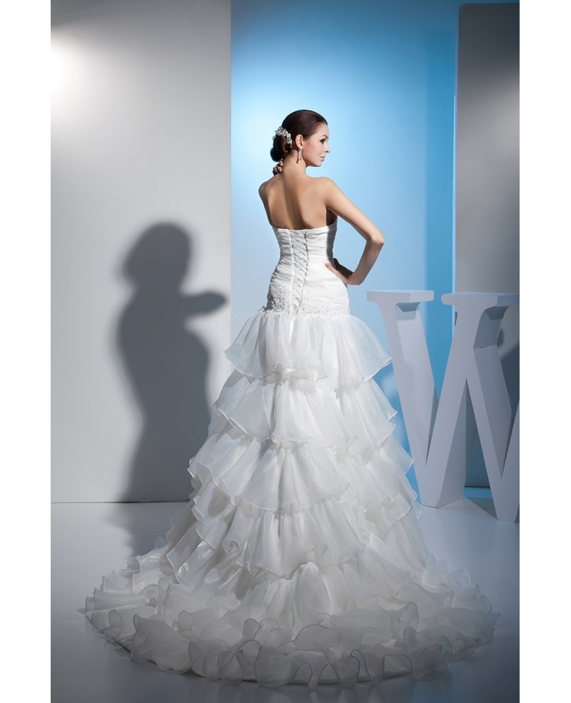 Sweetheart Fitted Corset Back Layered Wedding Dress