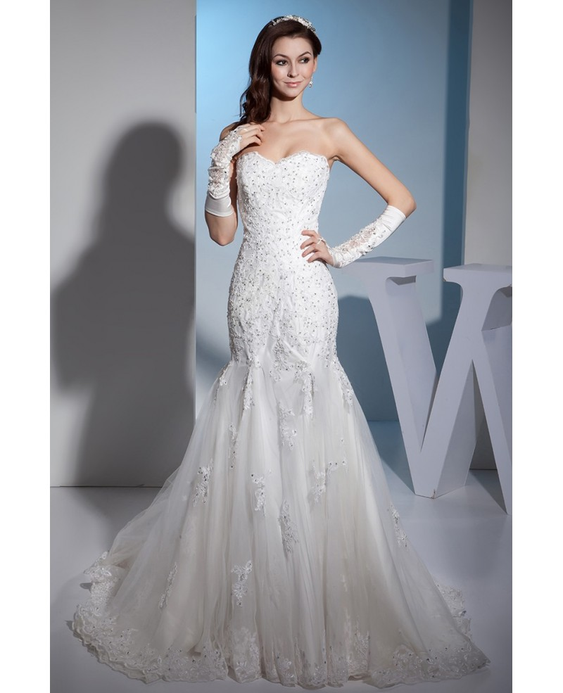 Lace Sweetheart Sexy Mermaid Tulle Wedding Dress