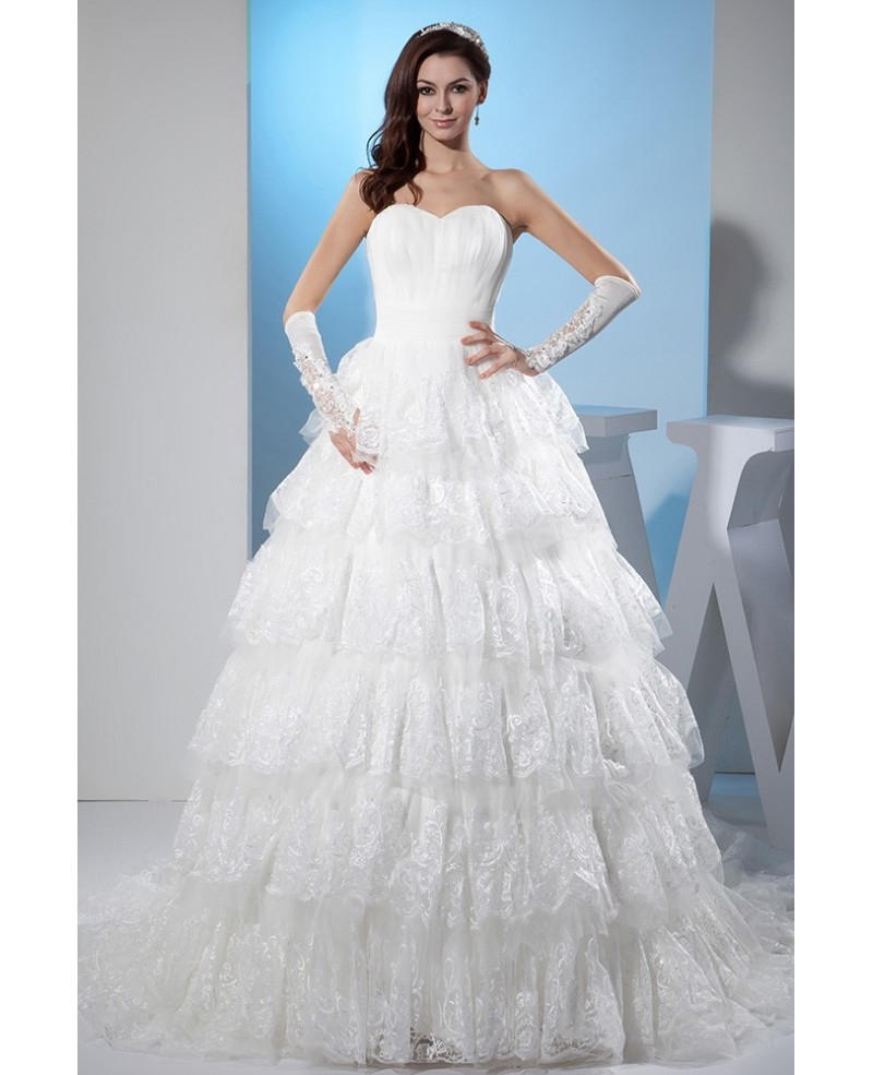 Beautiful Sweetheart Lace Tiered Ballgown Wedding Dress