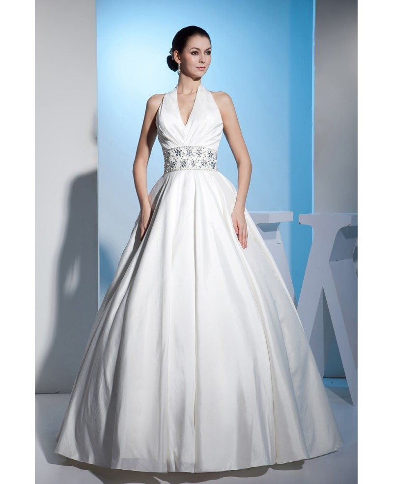 Beaded Long Halter Ballgown Wedding Dress Open Back