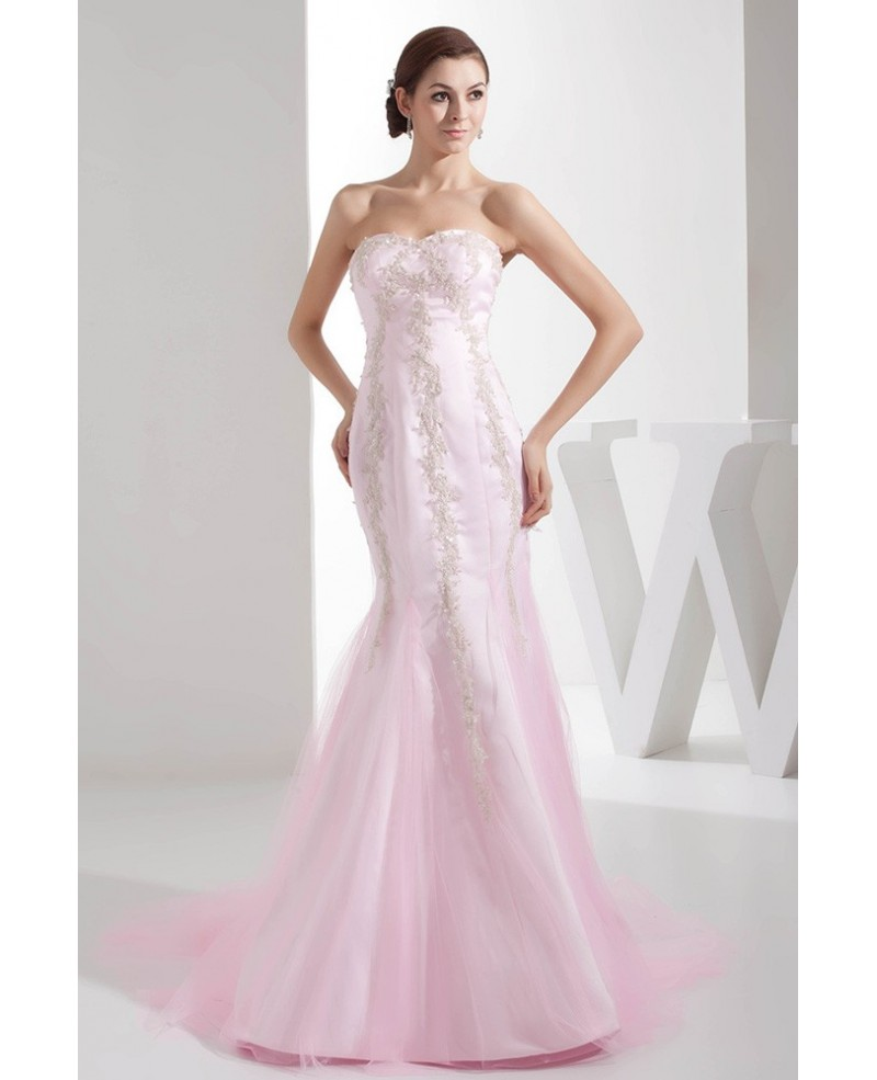 Perfect Custom Fitted Long Mermaid Pink Lace Tulle Wedding Dress