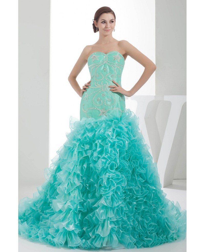 Jade Sequined Sweetheart Cascading Ruffles Color Wedding Dress with Beading