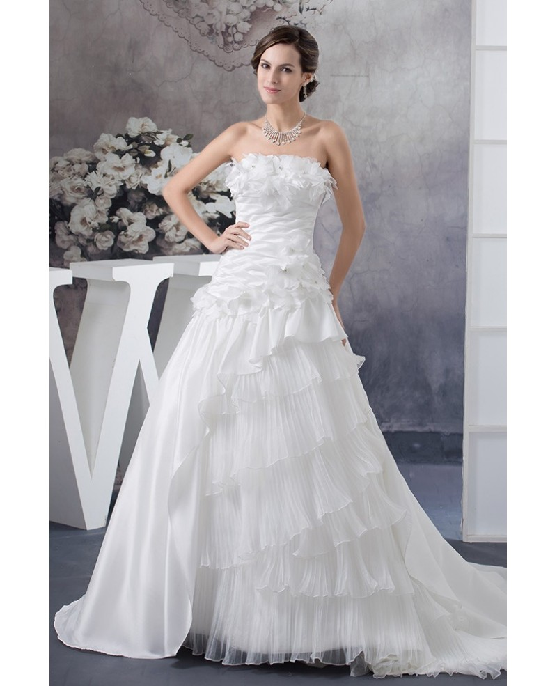 Floral Strapless Pleated White Satin and Organza Wedding Dress with Train