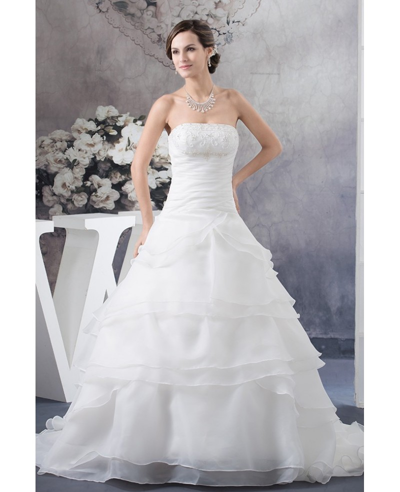 Strapless Ball Gown Beaded Tiered Organza Wedding Dress with Beading