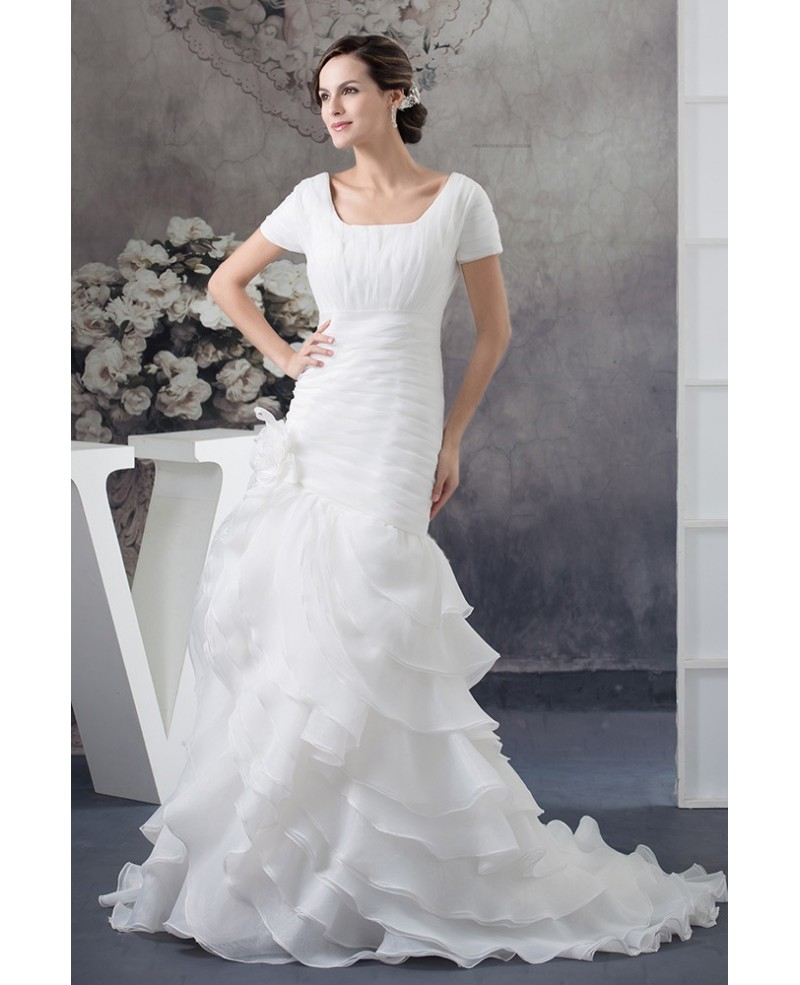 Modest Square Neckline Short Sleeves Pleated Mature Wedding Dress