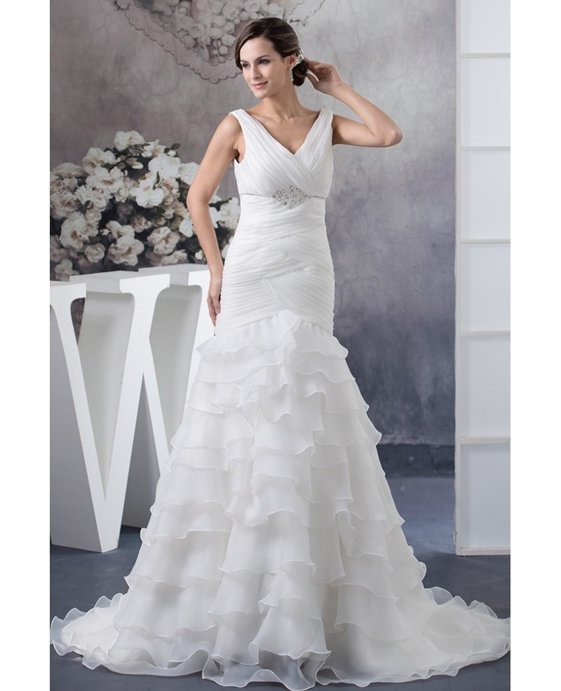 Pleated Crossed V-neck Organza Cascading Ruffles Mermaid Wedding Dress