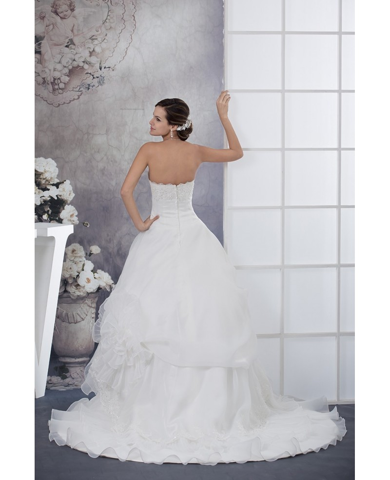 Long White Lace Beaded Strapless Tiered Organza Wedding Dress with Train